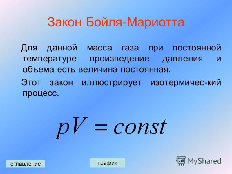 Уравнение Менделеева- Клапейрона Основным уравнением в термодинамике является уравнение Менделеева-Клапейрона, где p - давление, V – объем, m – масса газа, М – его объем, R – универсальная газовая постоянная, Т – абсолютная температура. оглавление