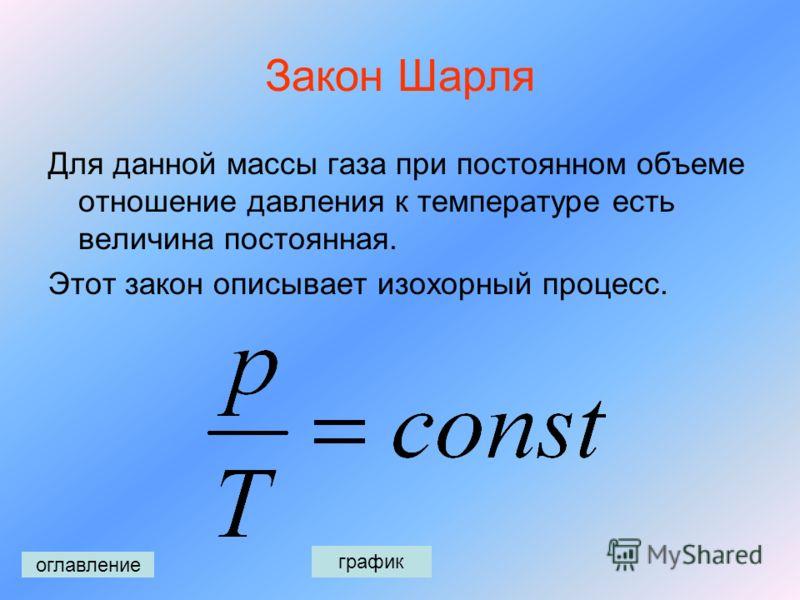 Закон Гей-Люссака Для данной массы газа при постоянном давлении отношение объема к температуре есть величина постоянная. Этот закон описывает изобарный процесс. оглавление график