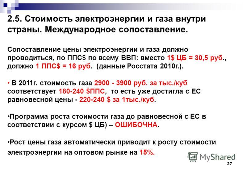 27 2.5. Стоимость электроэнергии и газа внутри страны. Международное сопоставление. Сопоставление цены электроэнергии и газа должно проводиться, по ППС$ по всему ВВП: вместо 1$ ЦБ = 30,5 руб., должно 1 ППС$ = 16 руб. (данные Росстата 2010г.). В 2011г