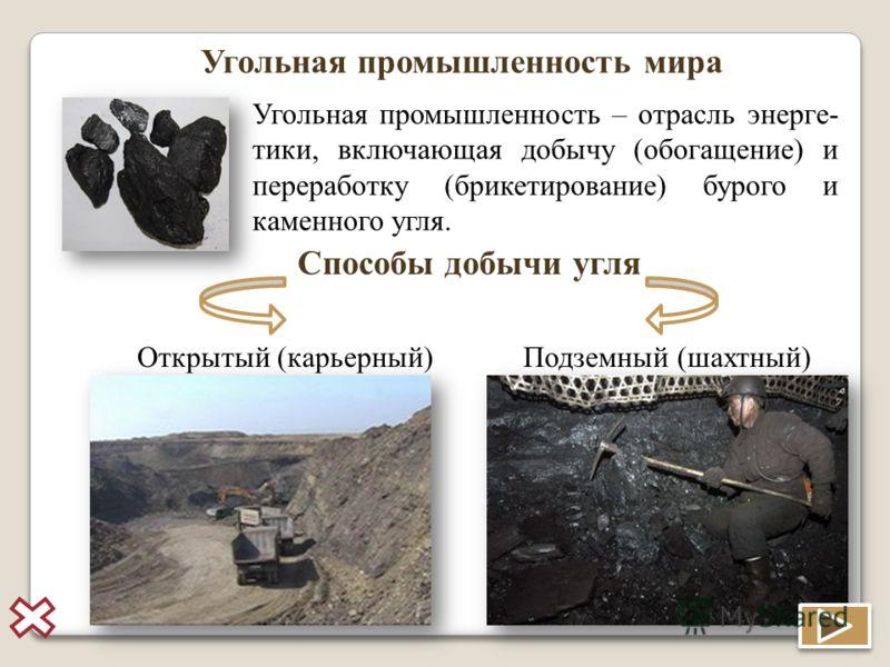 Угольная промышленность мира Угольная промышленность – отрасль энерге- тики, включающая добычу (обогащение) и переработку (брикетирование) бурого и каменного угля. Способы добычи угля Открытый (карьерный)Подземный (шахтный)