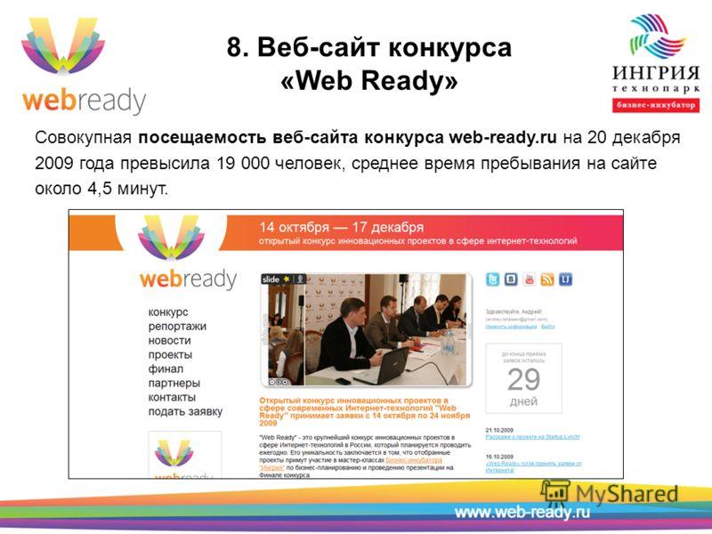 8. Веб-сайт конкурса «Web Ready» Совокупная посещаемость веб-сайта конкурса web-ready.ru на 20 декабря 2009 года превысила 19 000 человек, среднее время пребывания на сайте около 4,5 минут.