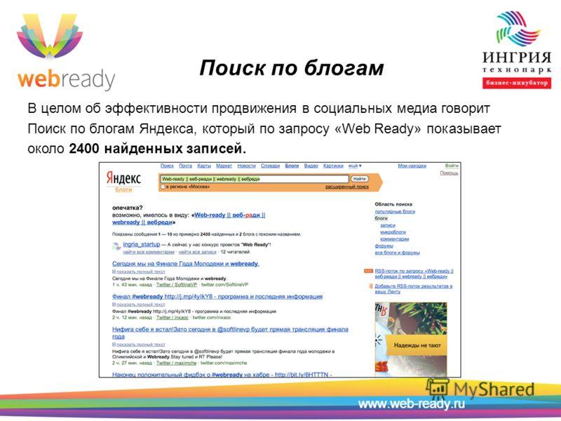 Поиск по блогам В целом об эффективности продвижения в социальных медиа говорит Поиск по блогам Яндекса, который по запросу «Web Ready» показывает около 2400 найденных записей.