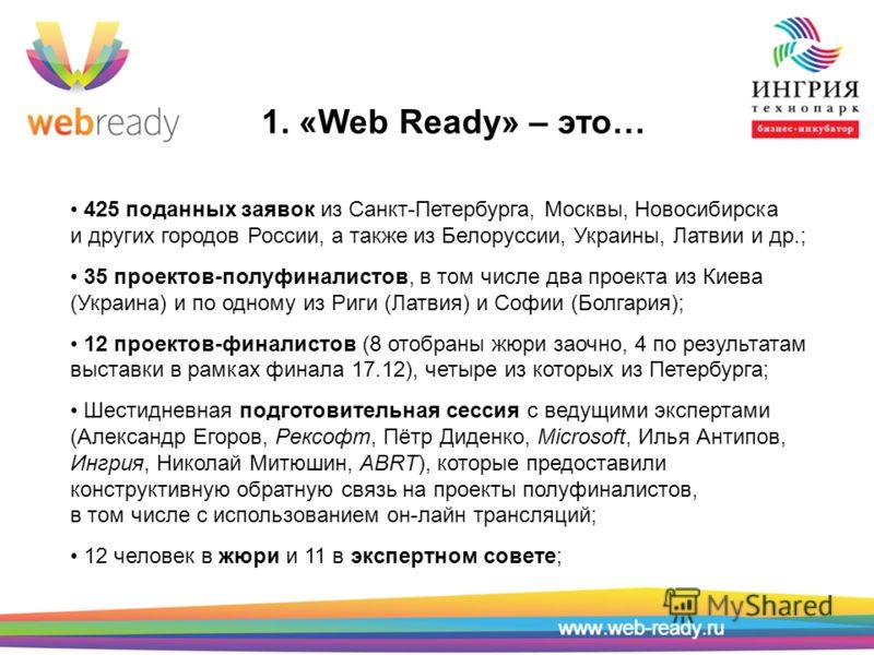 1. «Web Ready» – это… 425 поданных заявок из Санкт-Петербурга, Москвы, Новосибирска и других городов России, а также из Белоруссии, Украины, Латвии и др.; 35 проектов-полуфиналистов, в том числе два проекта из Киева (Украина) и по одному из Риги (Лат