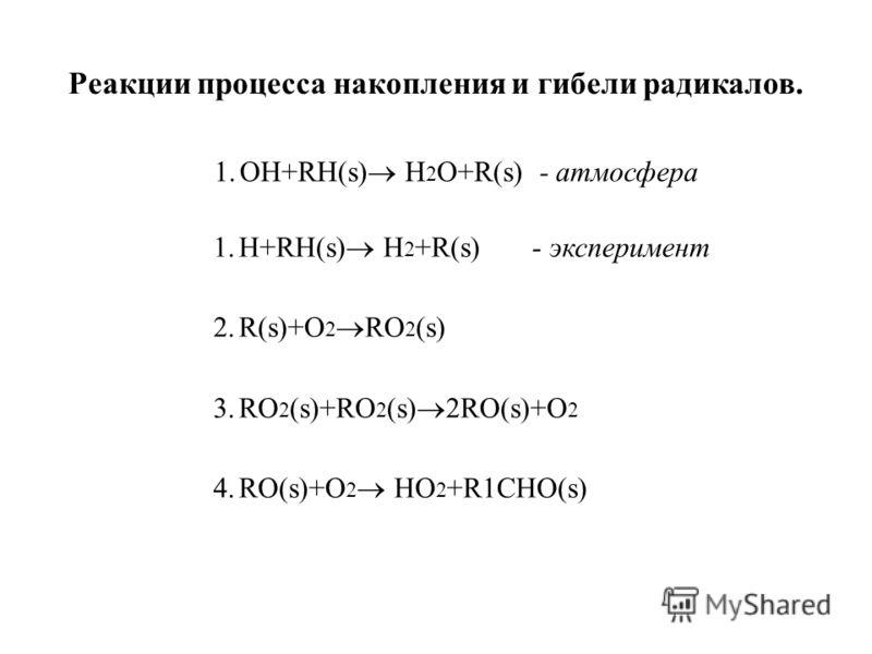 1.Н+RH(s) H 2 +R(s) - эксперимент 2.R(s)+O 2 RO 2 (s) 3.RO 2 (s)+RO 2 (s) 2RO(s)+O 2 4.RO(s)+O 2 HO 2 +R1CHO(s) Реакции процесса накопления и гибели радикалов. 1.OН+RH(s) H 2 O+R(s) - атмосфера