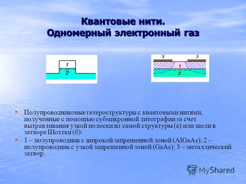 Квантовые нити. Одномерный электронный газ Полупроводниковые гетероструктуры с квантовыми нитями, полученные с помощью субмикронной литографии за счет вытравливания узкой полоски из самой структуры (а) или щели в затворе Шоттки (б): 1 – полупроводник