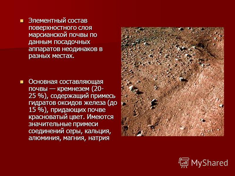 Элементный состав поверхностного слоя марсианской почвы по данным посадочных аппаратов неодинаков в разных местах. Элементный состав поверхностного слоя марсианской почвы по данным посадочных аппаратов неодинаков в разных местах. Основная составляюща