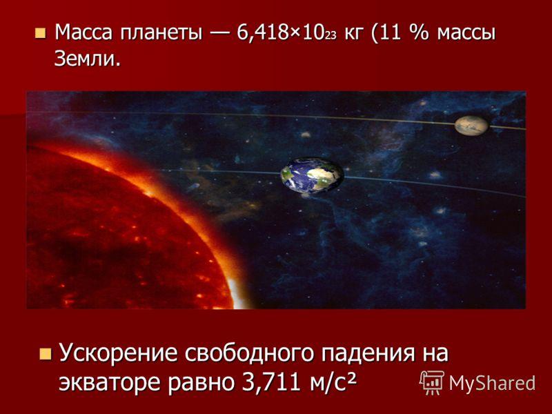 Масса планеты 6,418×10 23 кг (11 % массы Земли. Масса планеты 6,418×10 23 кг (11 % массы Земли. Ускорение свободного падения на экваторе равно 3,711 м/с² Ускорение свободного падения на экваторе равно 3,711 м/с²