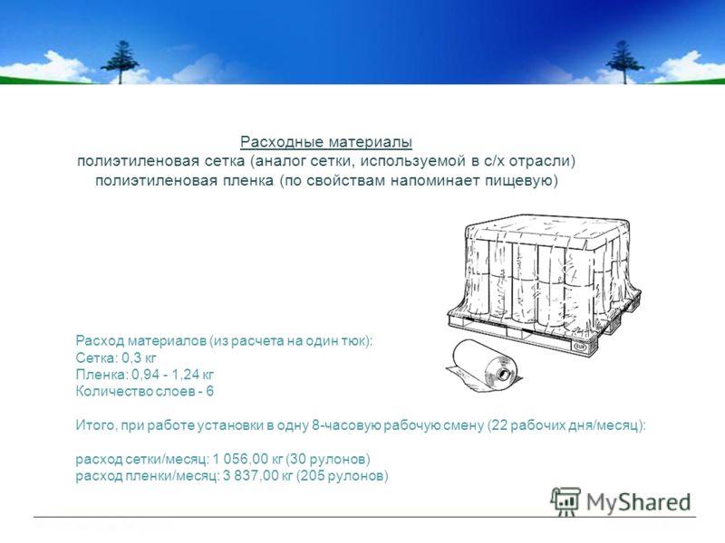 Расходные материалы полиэтиленовая сетка (аналог сетки, используемой в с/х отрасли) полиэтиленовая пленка (по свойствам напоминает пищевую) Расход материалов (из расчета на один тюк): Сетка: 0,3 кг Пленка: 0,94 - 1,24 кг Количество слоев - 6 Итого, п
