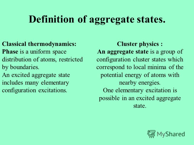 Definition of aggregate states. Cluster physics : An aggregate state is a group of configuration cluster states which correspond to local minima of the potential energy of atoms with nearby energies. One elementary excitation is possible in an excite