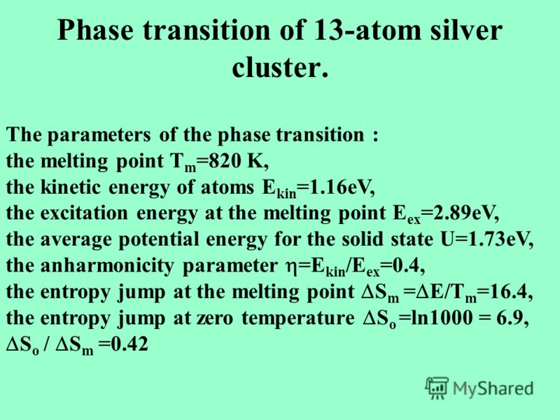 Phase transition of 13-atom silver cluster. The parameters of the phase transition : the melting point T m =820 K, the kinetic energy of atoms E kin =1.16eV, the excitation energy at the melting point E ex =2.89eV, the average potential energy for th
