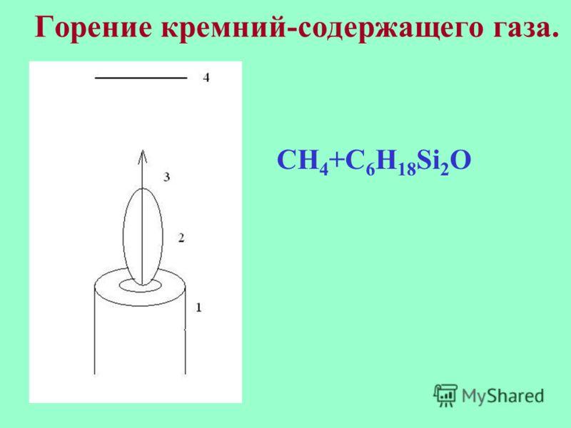 Горение кремний-содержащего газа. CH 4 +C 6 H 18 Si 2 O