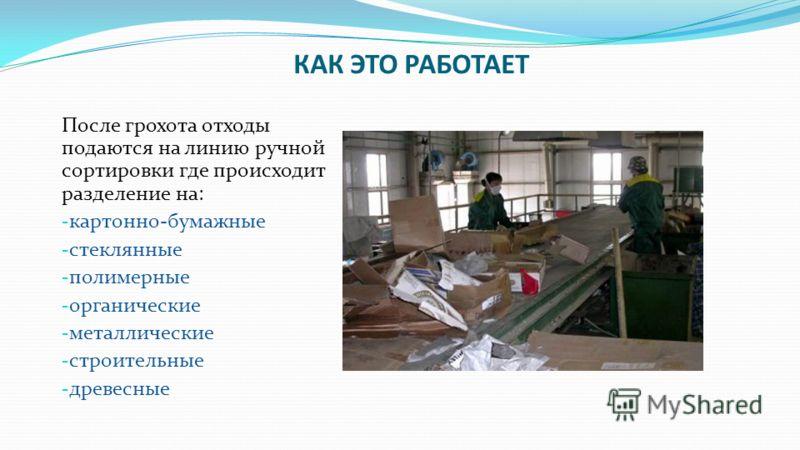 КАК ЭТО РАБОТАЕТ Отходы поступают в грохот где разрываются мешки и упаковка