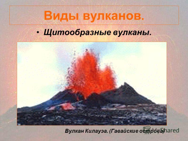 Виды вулканов. Щитообразные вулканы. Вулкан Килауэа. (Гавайские острова)
