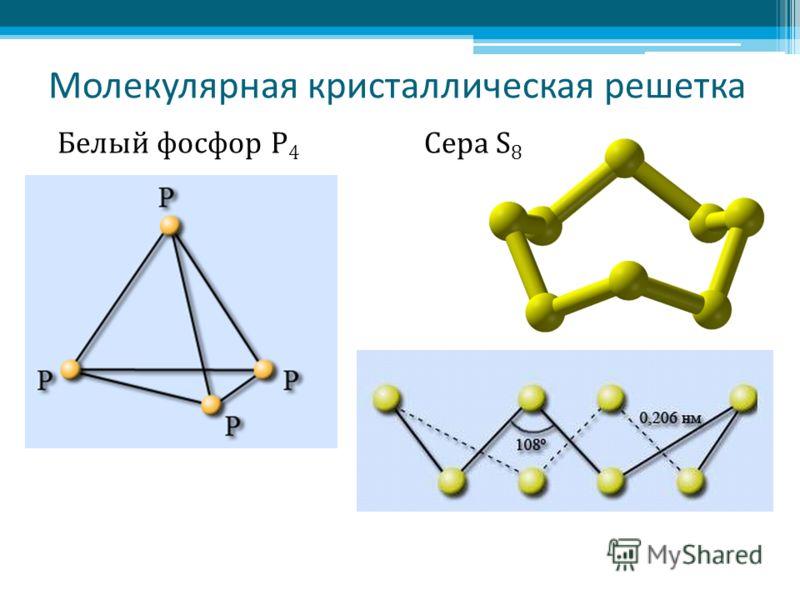 Молекулярная кристаллическая решетка Белый фосфор Р 4 Сера S 8