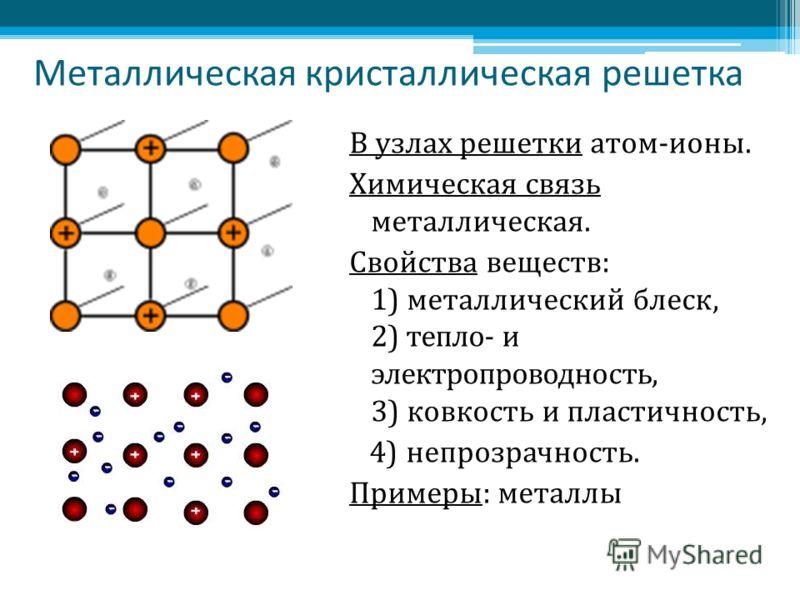 Металлическая кристаллическая решетка В узлах решетки атом-ионы. Химическая связь металлическая. Свойства веществ: 1) металлический блеск, 2) тепло- и электропроводность, 3) ковкость и пластичность, 4) непрозрачность. Примеры: металлы