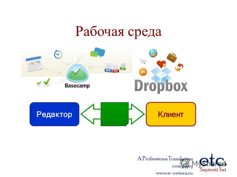 A Professiona Translation company www.e-cetera.ru Рабочая среда Клиент Редактор