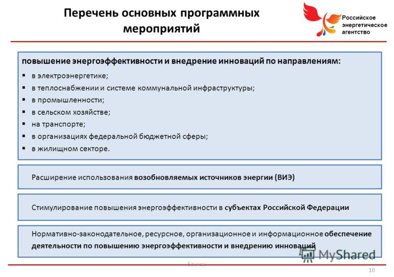 Российское энергетическое агентство Source: 4 повышение энергоэффективности и внедрение инноваций по направлениям: в электроэнергетике; в теплоснабжении и системе коммунальной инфраструктуры; в промышленности; в сельском хозяйстве; на транспорте; в о