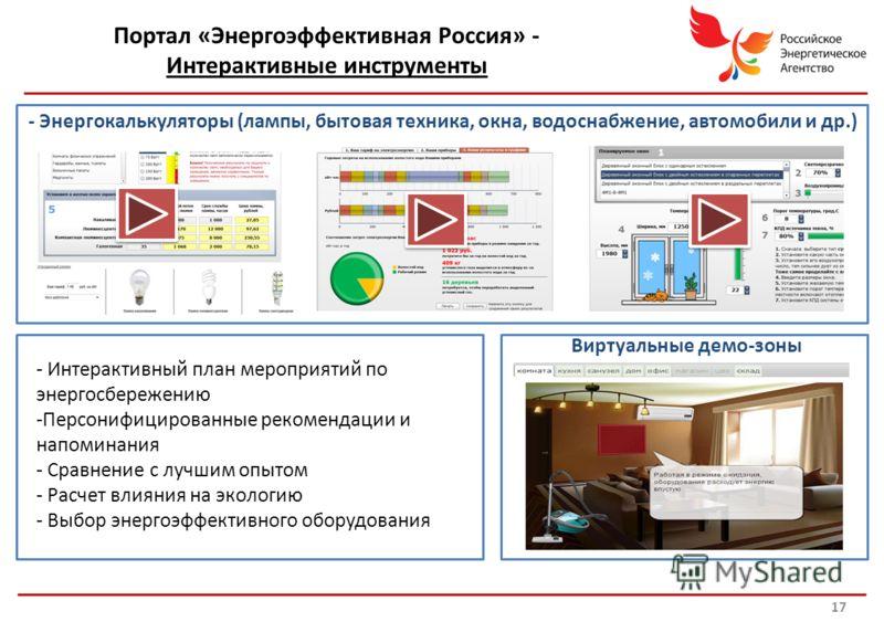 Российское энергетическое агентство Портал «Энергоэффективная Россия» - Интерактивные инструменты - Энергокалькуляторы (лампы, бытовая техника, окна, водоснабжение, автомобили и др.) - Интерактивный план мероприятий по энергосбережению -Персонифициро