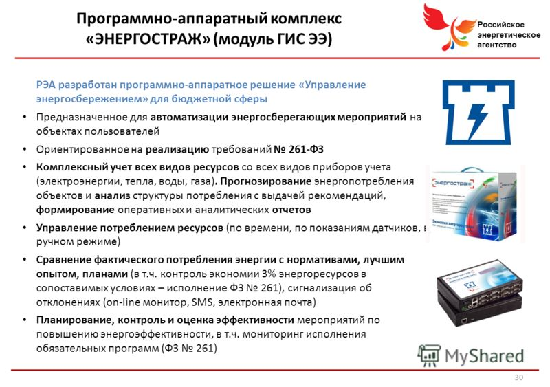 Российское энергетическое агентство Программно-аппаратный комплекс «ЭНЕРГОСТРАЖ» (модуль ГИС ЭЭ) РЭА разработан программно-аппаратное решение «Управление энергосбережением» для бюджетной сферы Предназначенное для автоматизации энергосберегающих мероп