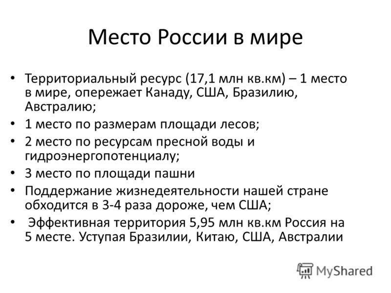 Место России в мире Территориальный ресурс (17,1 млн кв.км) – 1 место в мире, опережает Канаду, США, Бразилию, Австралию; 1 место по размерам площади лесов; 2 место по ресурсам пресной воды и гидроэнергопотенциалу; 3 место по площади пашни Поддержани