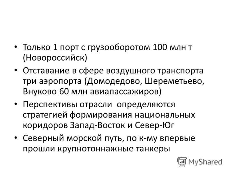Только 1 порт с грузооборотом 100 млн т (Новороссийск) Отставание в сфере воздушного транспорта три аэропорта (Домодедово, Шереметьево, Внуково 60 млн авиапассажиров) Перспективы отрасли определяются стратегией формирования национальных коридоров Зап