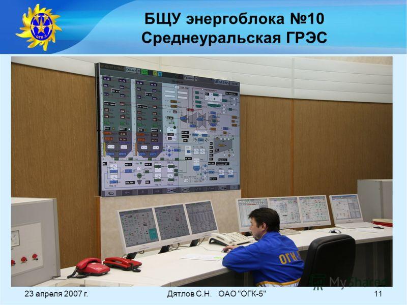 23 апреля 2007 г.Дятлов С.Н. ОАО ОГК-511 БЩУ энергоблока 10 Среднеуральская ГРЭС