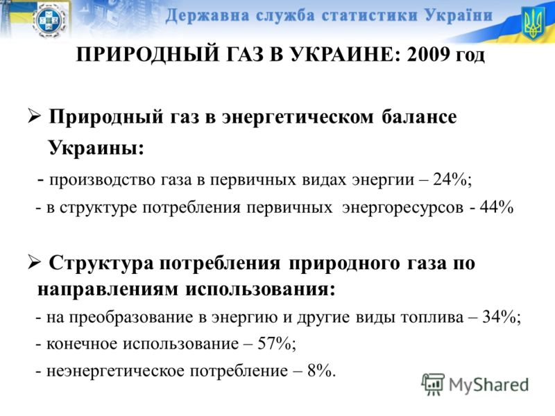 ПРИРОДНЫЙ ГАЗ В УКРАИНЕ: 2009 год Природный газ в энергетическом балансе Украины: - производство газа в первичных видах энергии – 24%; - в структуре потребления первичных энергоресурсов - 44% Структура потребления природного газа по направлениям испо