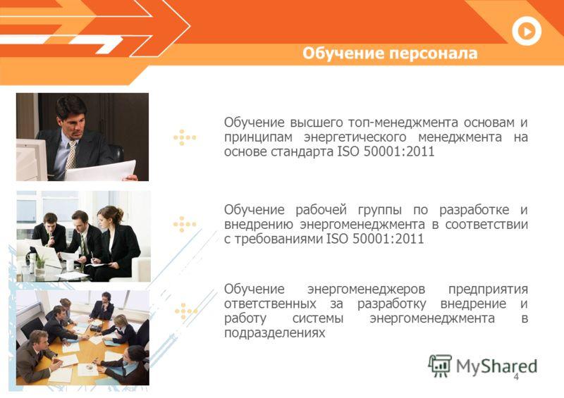 4 Обучение персонала Системы энергоменеджмента, понятие и определение Обучение высшего топ-менеджмента основам и принципам энергетического менеджмента на основе стандарта ISO 50001:2011 Обучение рабочей группы по разработке и внедрению энергоменеджме
