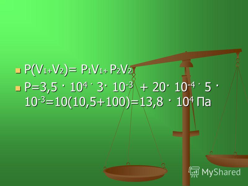 Р(V 1+ V 2 )= Р 1 V 1+ Р 2 V 2 Р(V 1+ V 2 )= Р 1 V 1+ Р 2 V 2 Р=3,5 · 10 4 · 3· 10 -3 + 20· 10 -4 · 5 · 10 -3 =10(10,5+100)=13,8 · 10 4 Па Р=3,5 · 10 4 · 3· 10 -3 + 20· 10 -4 · 5 · 10 -3 =10(10,5+100)=13,8 · 10 4 Па