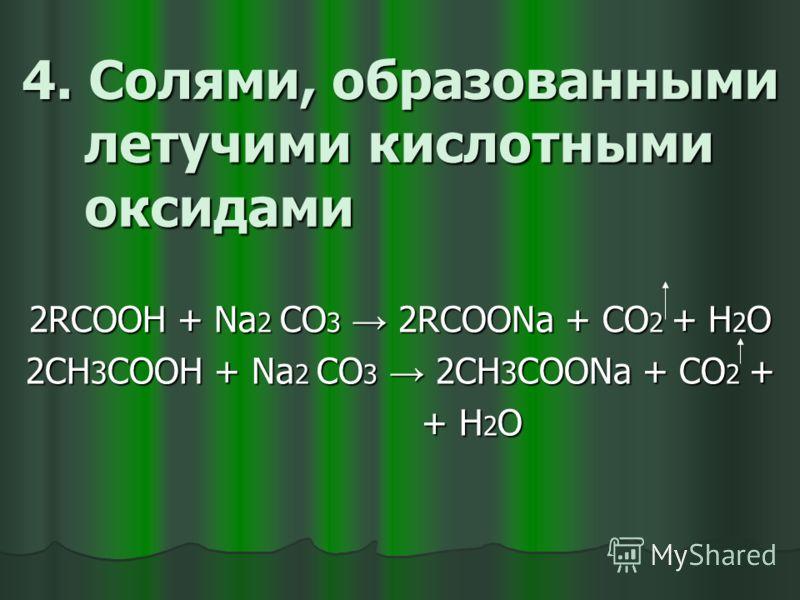 2RCOOH + NaOH RCOONa + H 2 O реакция нейтрализации 2СН 3 COOH + Na 2 О 2СН 3 COONa + H 2 О