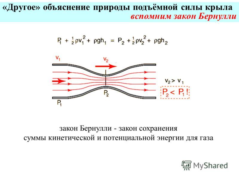 «Другое» объяснение природы подъёмной силы крыла вспомним закон Бернулли закон Бернулли - закон сохранения суммы кинетической и потенциальной энергии для газа