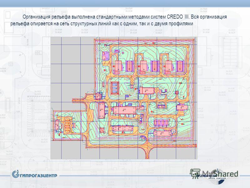 Организация рельефа выполнена стандартными методами систем CREDO III. Вся организация рельефа опирается на сеть структурных линий как с одним, так и с двумя профилями