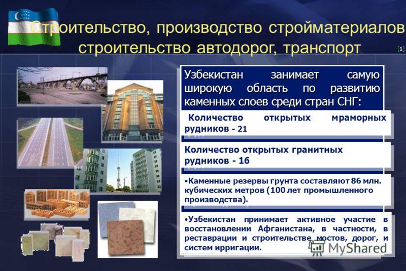 [1][1] Строительство, производство стройматериалов, строительство автодорог, транспорт Узбекистан занимает самую широкую область по развитию каменных слоев среди стран СНГ: Количество открытых мраморных рудников - 21 Количество открытых гранитных руд