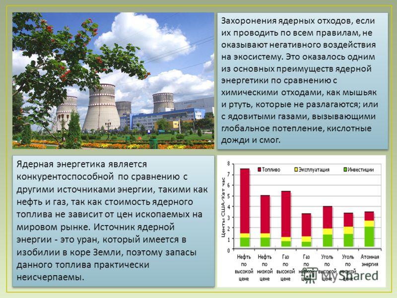 Ядерная энергетика является конкурентоспособной по сравнению с другими источниками энергии, такими как нефть и газ, так как стоимость ядерного топлива не зависит от цен ископаемых на мировом рынке. Источник ядерной энергии - это уран, который имеется