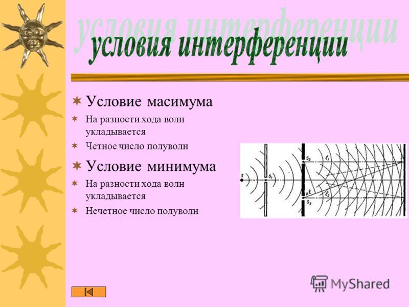 Условие масимума На разности хода волн укладывается Четное число полуволн Условие минимума На разности хода волн укладывается Нечетное число полуволн