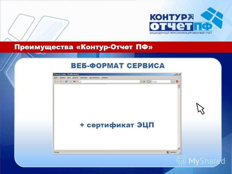 Преимущества «Контур-Отчет ПФ» ВЕБ-ФОРМАТ СЕРВИСА + сертификат ЭЦП