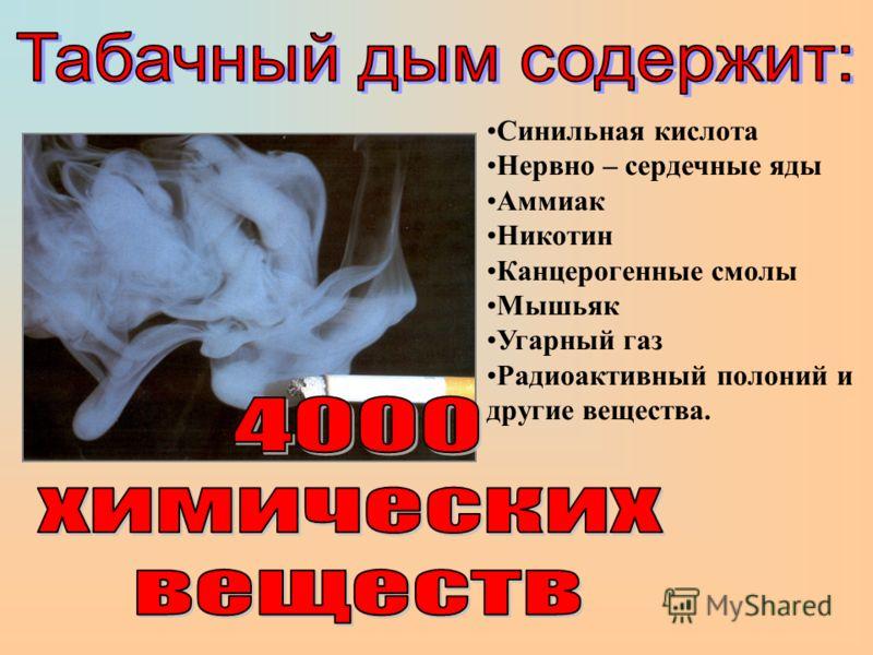 Синильная кислота Нервно – сердечные яды Аммиак Никотин Канцерогенные смолы Мышьяк Угарный газ Радиоактивный полоний и другие вещества.