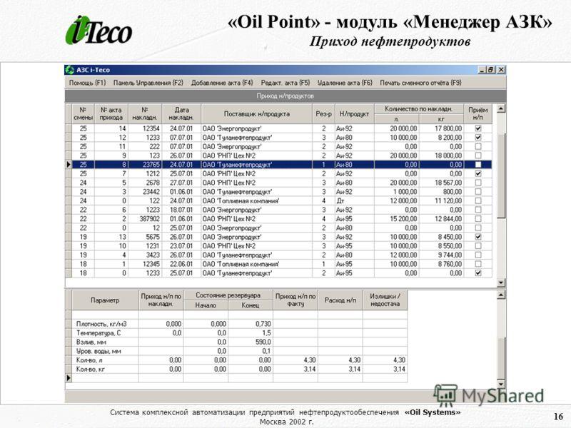 Система комплексной автоматизации предприятий нефтепродуктообеспечения «Oil Systems» Москва 2002 г. 16 «Oil Point» - модуль «Менеджер АЗК» Приход нефтепродуктов