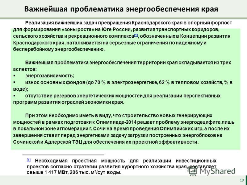 Важнейшая проблематика энергообеспечения края 10 Реализация важнейших задач превращения Краснодарского края в опорный форпост для формирования «зоны роста» на Юге России, развития транспортных коридоров, сельского хозяйства и рекреационного комплекса