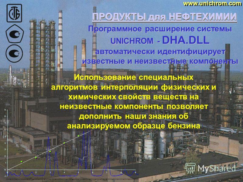 ПРОДУКТЫ для НЕФТЕХИМИИ www.unichrom.com И, как результат 300 идентифицированных компонентов и такое же количество неизвестных