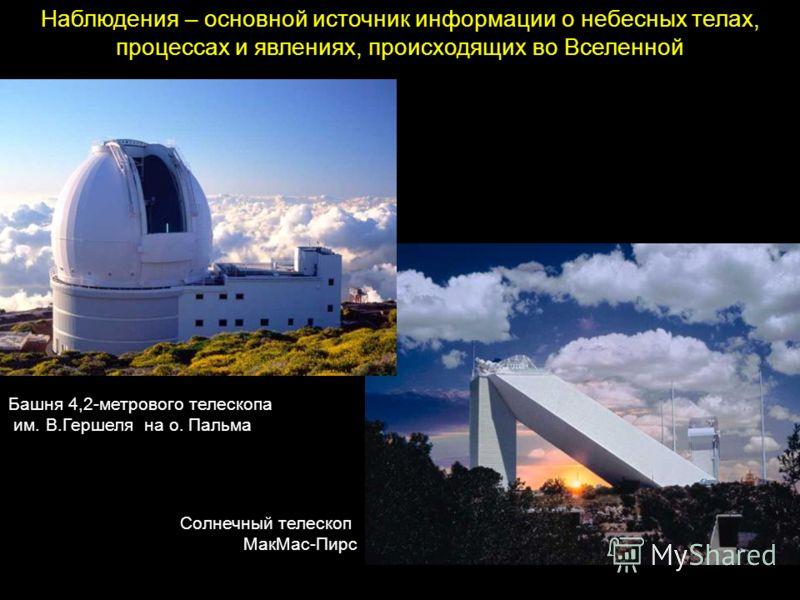 Наблюдения – основной источник информации о небесных телах, процессах и явлениях, происходящих во Вселенной Солнечный телескоп МакМас-Пирс Башня 4,2-метрового телескопа им. В.Гершеля на о. Пальма