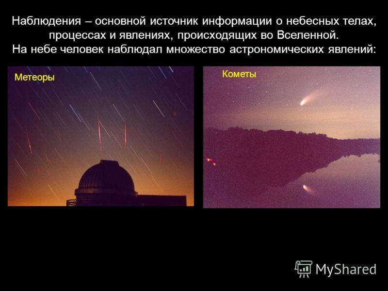 Наблюдения – основной источник информации о небесных телах, процессах и явлениях, происходящих во Вселенной. На небе человек наблюдал множество астрономических явлений: Кометы Метеоры