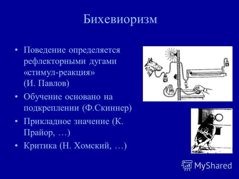 Бихевиоризм Поведение определяется рефлекторными дугами «стимул-реакция» (И. Павлов) Обучение основано на подкреплении (Ф.Скиннер) Прикладное значение (К. Прайор, …) Критика (Н. Хомский, …)