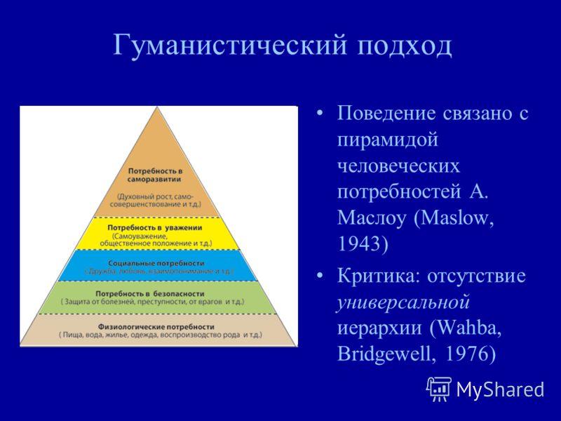 Гуманистический подход Поведение связано с пирамидой человеческих потребностей А. Маслоу (Maslow, 1943) Критика: отсутствие универсальной иерархии (Wahba, Bridgewell, 1976)