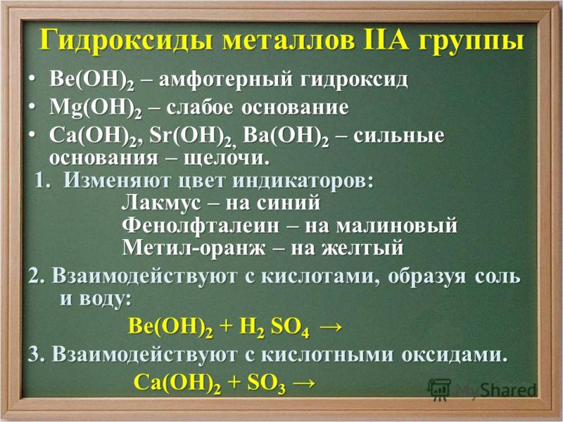 Гидроксиды металлов IIА группы Ве(ОН) 2 – амфотерный гидроксид Ве(ОН) 2 – амфотерный гидроксид Mg(ОН) 2 – слабое основание Mg(ОН) 2 – слабое основание Са(ОН) 2, Sr(ОН) 2, Ва(ОН) 2 – сильные основания – щелочи. Са(ОН) 2, Sr(ОН) 2, Ва(ОН) 2 – сильные о