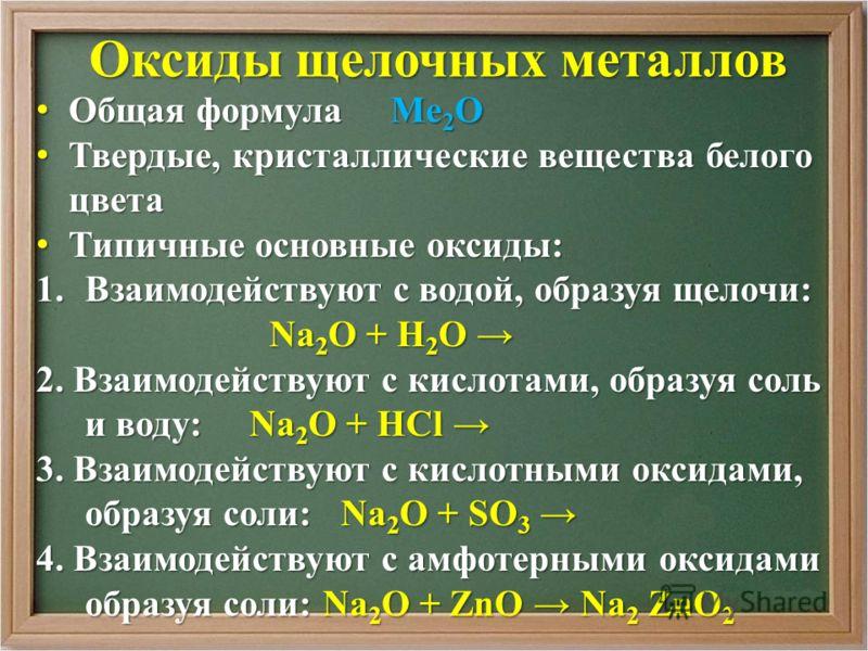 Оксиды щелочных металлов Общая формула Ме 2 О Общая формула Ме 2 О Твердые, кристаллические вещества белого цвета Твердые, кристаллические вещества белого цвета Типичные основные оксиды: Типичные основные оксиды: 1.Взаимодействуют с водой, образуя ще