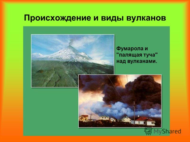 Происхождение и виды вулканов Фумарола и палящая туча над вулканами.