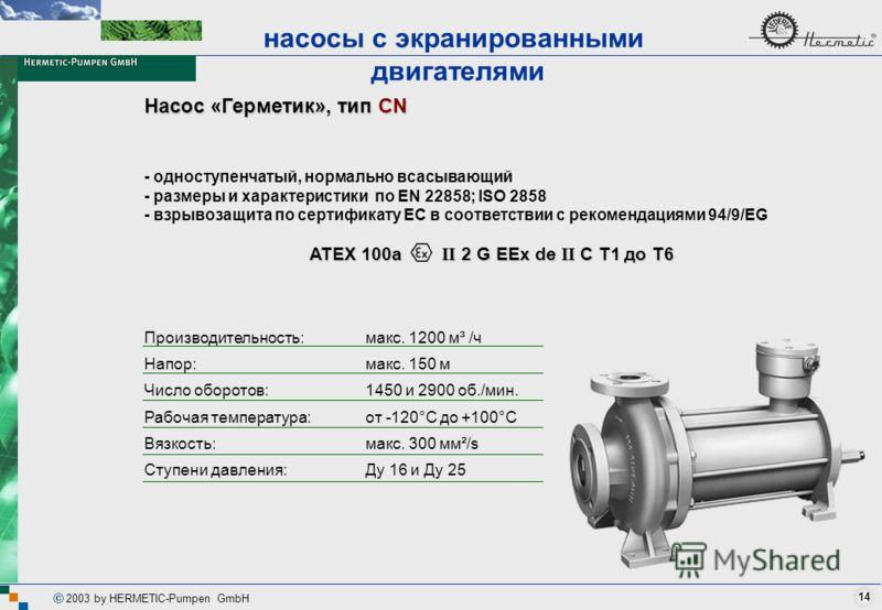 14 2003 by HERMETIC-Pumpen GmbH Насос «Герметик», тип CN насосы с экранированными двигателями Производительность: Напор: Число оборотов: Рабочая температура: Вязкость: Ступени давления: макс. 1200 м³ /ч макс. 150 м 1450 и 2900 об./мин. от -120°C до +