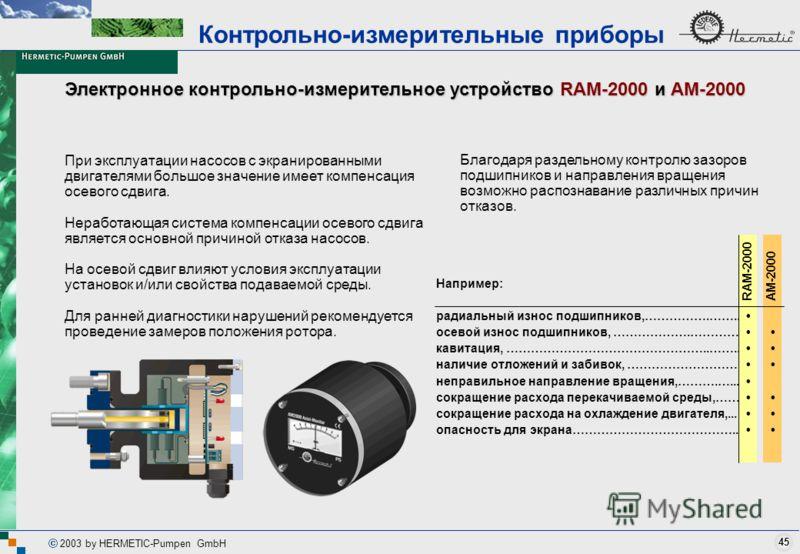 45 2003 by HERMETIC-Pumpen GmbH Электронное контрольно-измерительное устройство RAM-2000 и AM-2000 При эксплуатации насосов с экранированными двигателями большое значение имеет компенсация осевого сдвига. Неработающая система компенсации осевого сдви