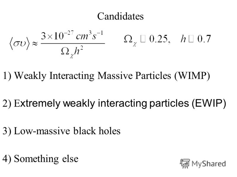 Candidates 1) Weakly Interacting Massive Particles (WIMP) 2) E xtremely weakly interacting particles (EWIP) 3) Low-massive black holes 4) Something else